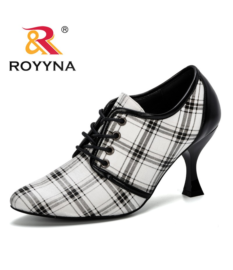 ROYYNA 2019 New Classics Style Women High Heel Shoes Lace Up Pointed Toe Lady Fashion Wedding Shoes Lattice Feminimo Pumps Comfy