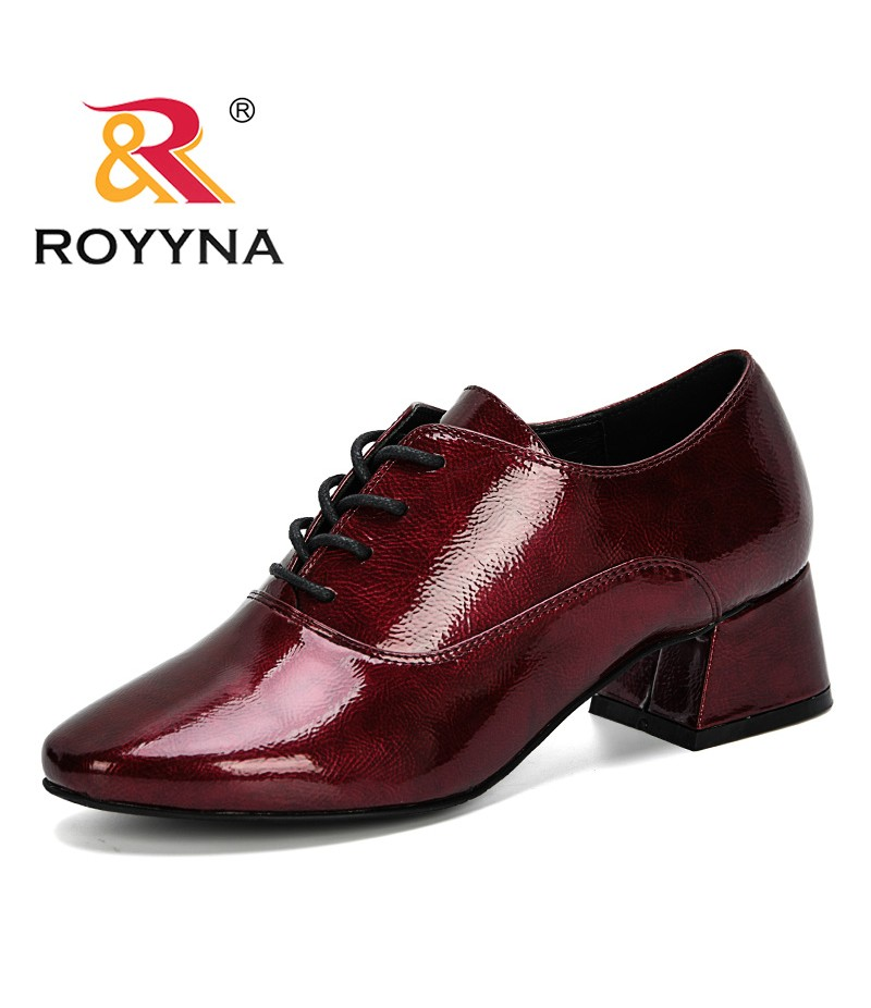 ROYYNA 2019 New Popular Style Thick High Heels Shoes Women Pumps Round Toe Work Shoes Lace Up Spring Autumn Footwear Feminimo