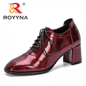 ROYYNA 2019 New Designer Heels Women Pumps Square Toe Footwear Patent Leather Ladies Shoes Fashion Mules Shoes Woman Comfortable