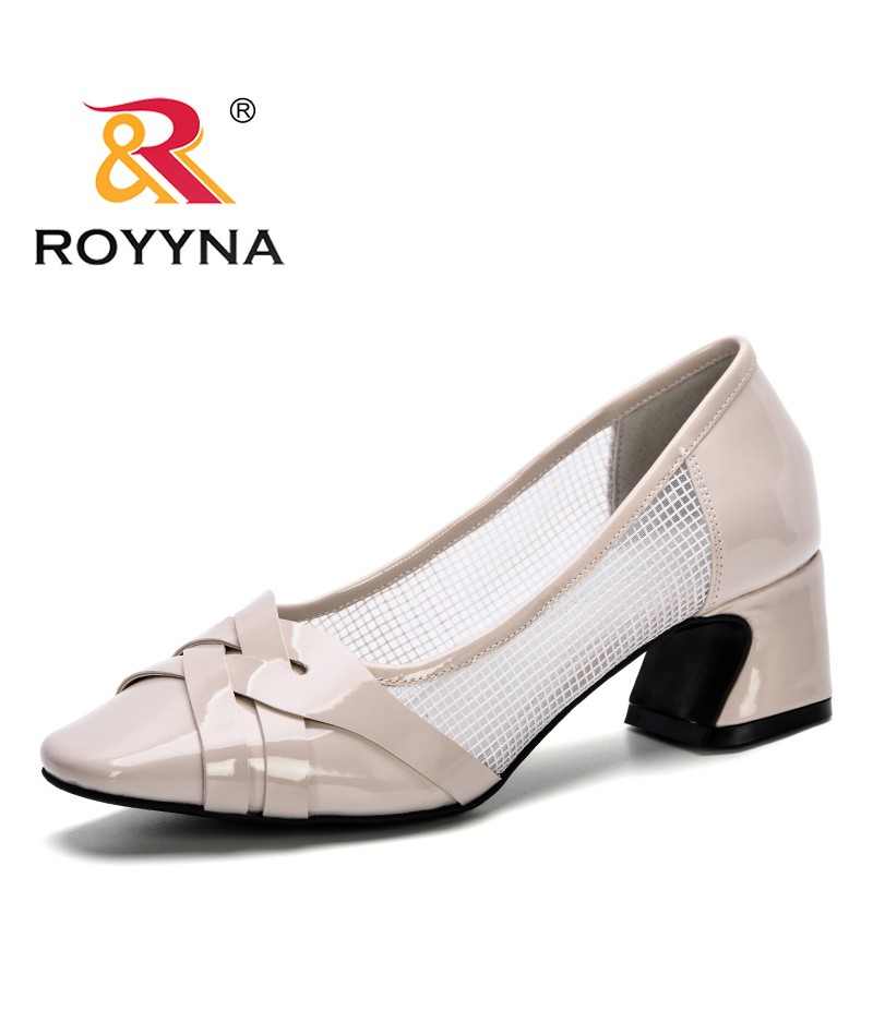 ROYYNA 2019 New Popular Style Women Pumps High Heels Woman Daily Shoes Office Pumps Elegant Square Toe Shoes Mesh Breathable