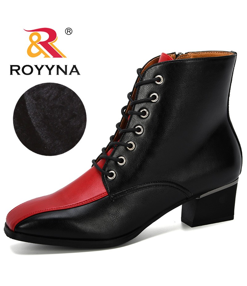 ROYYNA 2019 New Classics Style Mixed Color Ankle Boots Women Microfiber Woman Boots Motorcycle Brand Designers Square Toe Shoes