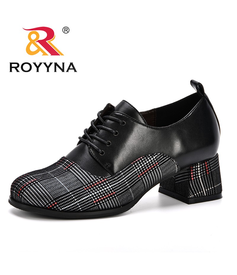 ROYYNA New 2019 Popular Style Women Pumps High Heels Shoes Woman Square Heels Ladies Party Wedding Dress Round Toe Shoes