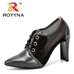 ROYYNA 2019 New Designer Fashion Women's High Heels Shoes Mesh Pointed Toe Woman Pumps Lace-Up Female Office Shoes Comfortable