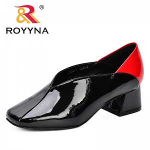 ROYYNA 2018 New Designer Women Pumps High Heels SquareToe Shoes Ladies Party Wedding Dress Fashion Style Slip On Shoes Feminimo