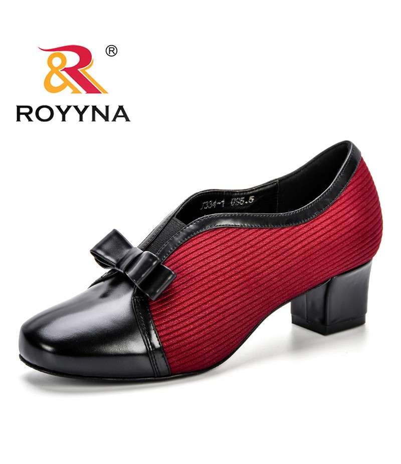 ROYYNA New Casual Heels Women Pumps Shoes Office Lady Round Toe Corduroy High Heels High Quality Wedding Party Ladies Shoes
