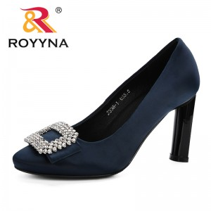 ROYYNA 2019 Spring Autumn Women Shoes Round Toe Pumps Dress High Heels Shoes Shadow Wedding Shoes Comfortable Zapatos Mujer