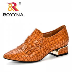 ROYYNA Women Pumps Microfiber Leather Single Woman Trendy Dress Shoes Square Heels Tassels Pointed Toe Comfortable Female Pumps