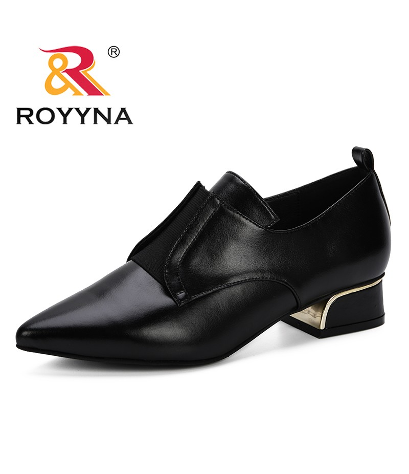 ROYYNA Women 2019 Spring Autumn New Designer Popular Pumps Office Pointed Toe Slip-On Dress Shoes Low Heels Microfiber Leather