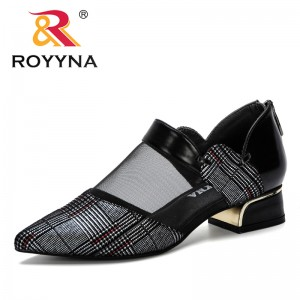 ROYYNA 2019 New Women Pumps Square Heels Shoes Sexy Pointed Toe Fashion Wedding Shoes Woman Summer Pumps Shoes Female Mesh Comfy