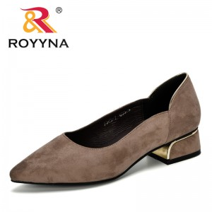 ROYYNA 2019 New Designer Ladies Pumps Flock Material Fashion Style Women Dress Shoes Female Metal Heel Women's Pumps Comfortable