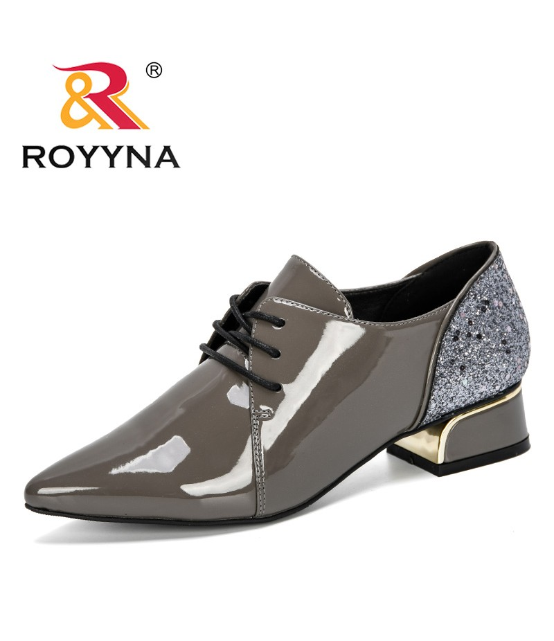 ROYYNA 2019 New Elegant Pointed Toe Wedding Shoes Women's Pumps Solid Fashion Lace Up High Hoofs Heels Dress Shoes For Women
