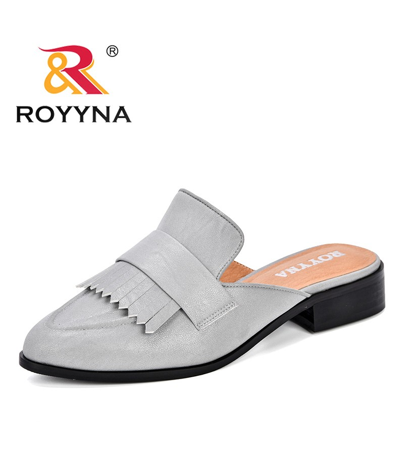 ROYYNA 2019 New Designer Slippers Women Shoes Woman Pointed Toe Ladies Female Slides Slippers Fashion Fringe Mules Shoes Comfy