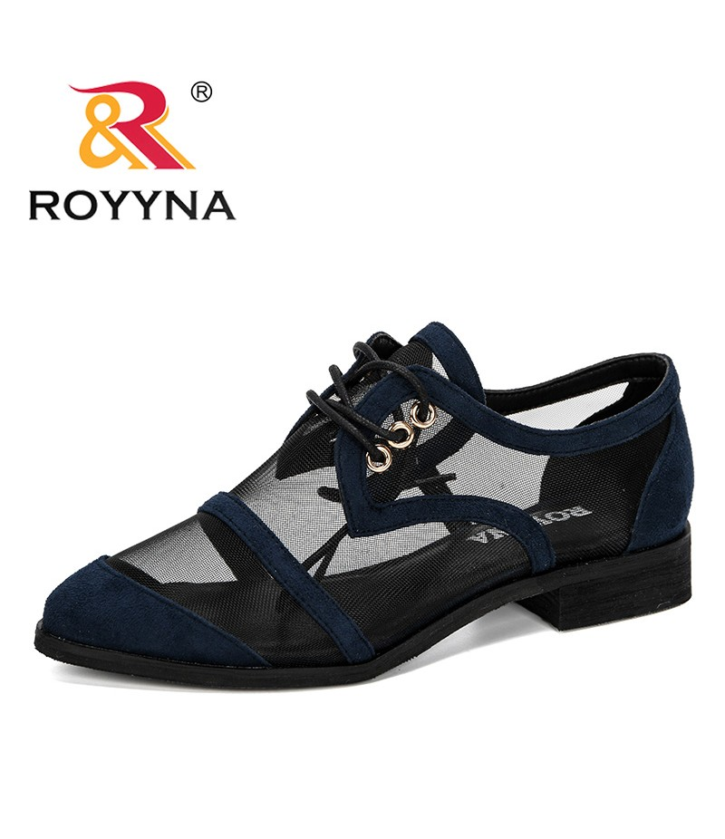 ROYYNA 2019 New Designer Women Dress Shoes Round Toe Medium Heels Pumps Gauze Shoes Woman Boat Shoes Hoof Heels Femenemo Shoes
