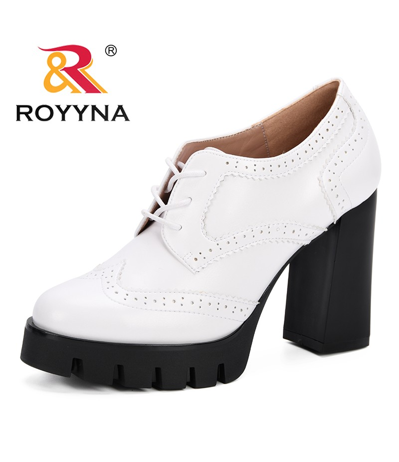 ROYYNA Spring Autumn Women Shallow Brogue Shoes Vintage Chunky Heel Cut Out Oxford Shoes Ladies Lace Up Feminimo Fashion Pumps
