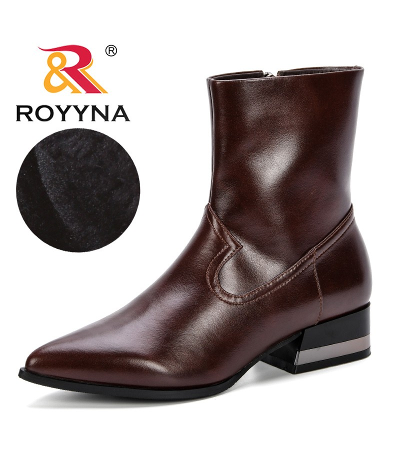 ROYYNA Hot Style Fashion Women Boots Pointed Toe Side Zippers Microfiber Woman Martin Boots Ankle Short Plush Comfortable Shoes