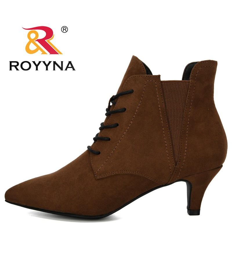 ROYYNA 2019 New Fashion Women Boots Casual Ladies Shoes Flock Pointed Toe Elastic Band Boots Thin Heels Office Ankle Boots Woman