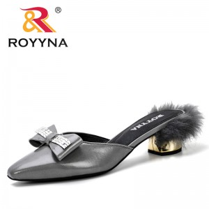 ROYYNA 2019 New Trendt Style Summer Fashion Heels Mules Slippers Ladies Square Toe Strange Style Outside Shoes For Girls Comfy