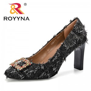 ROYYNA Female Zapatos Mujer Chunky High Heels Ladies Round Toe Pumps Women Shoes Feminimo Party Cotton Fabric Wedding Shoes