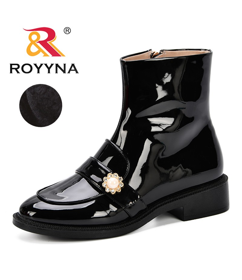 ROYYNA Women Boots Patent Leather Winter Ankle Shoes Warm Short Plush Boot Female Round Toe Casual Ladies Shoe Platform Shoes