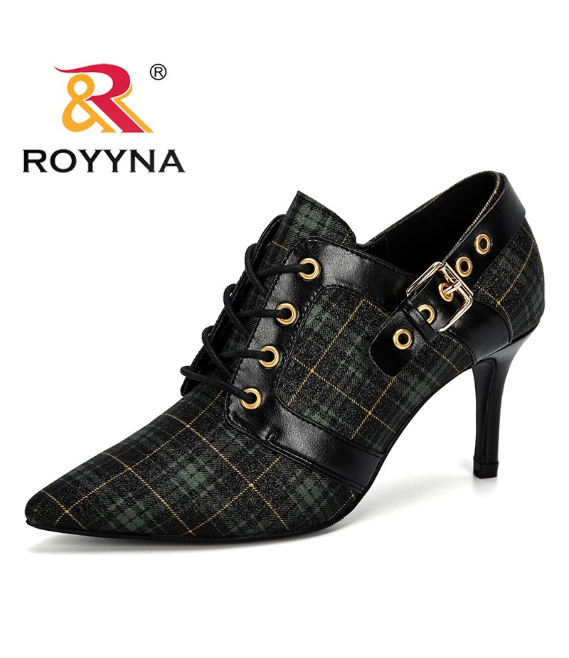 ROYYNA 2019 New Designer Women Pumps High Heels Lady Lattice Leather Dress Shoes Autumn Pointed Toe Single Shoes Female Trendy