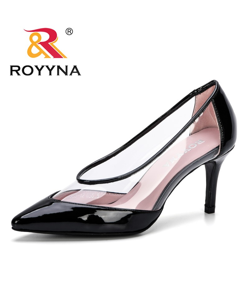 ROYYNA 2019 New Designer Style Women Classic Stiletto High Heels Ladies Sexy Sanke Patern Pointed Toe Pumps Comfort Dress Shoes