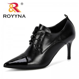ROYYNA 2019 New Style Pointed Toe Pumps Women Leather Dress High Heels Boat Shoes Female Mixed Color Wedding Shoes Zapatos Mujer