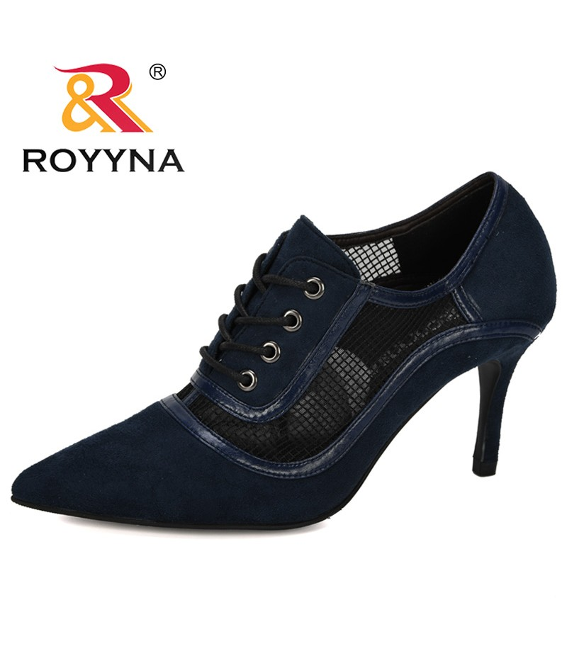 ROYYNA 2019 New Designer Fashion Pumps Women High Heels Flock Shoes Woman Pointed Toe Rubber Outsole Zapatos Mujer Comfortable