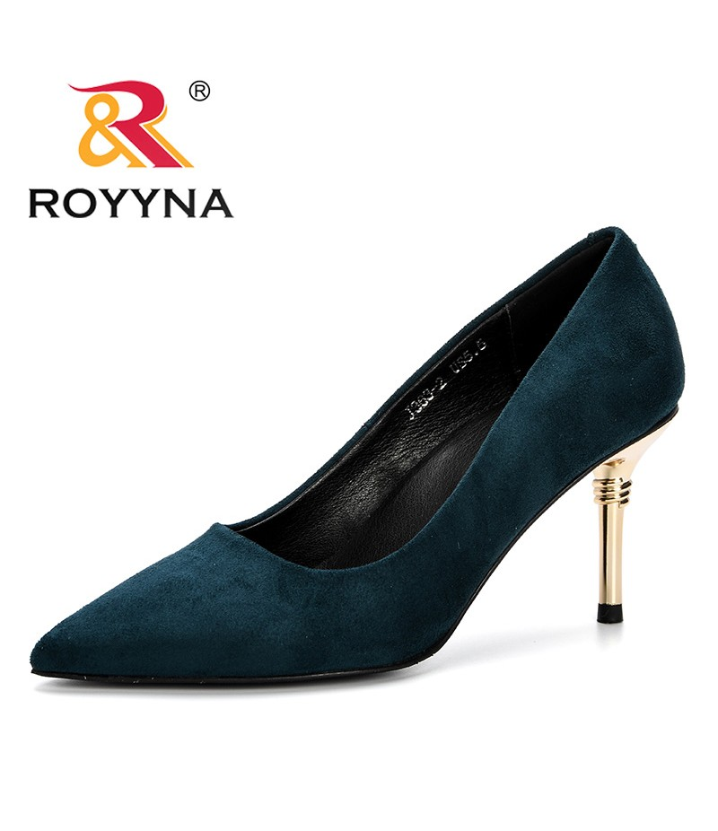 ROYYNA New 2019 Women Shoes High Heels Pumps Flock Pointed Toe Pump Fashionable Wedding Shoes Spring Autumn Basic Dress Shoes