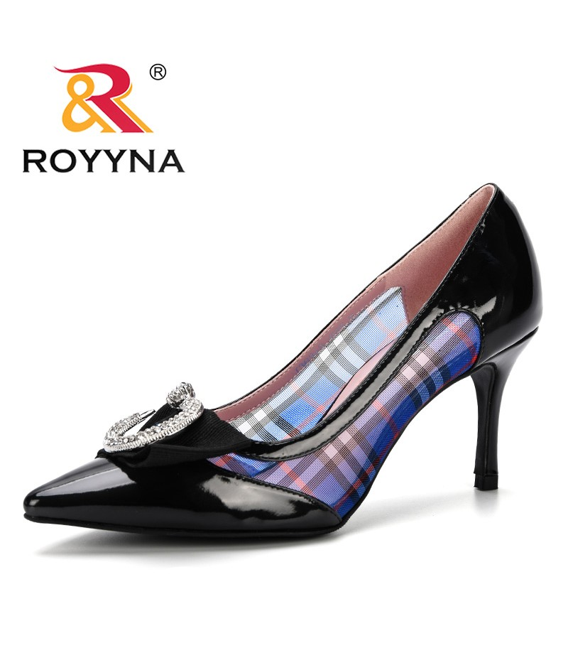 ROYYNA 2019 Shallow Women Pumps Sexy Side Transparent Mesh Pointed Toe High Heels Shoes Fashion Women's Wedding Shoes Trendy