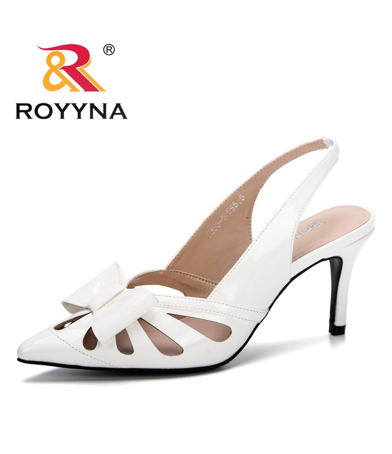 ROYYNA 2019 Sandalias Mujer Women Sandals Women Pumps High Heels Shoes Patend Leather Slingback Wedding Shoes Footwear Zapatos