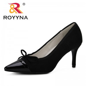 ROYYNA 2019 New Classics Style Woman Pumps Shoes Pointed Toe Shallow High Heels Flock Trendy Pumps Shoes Mujer Butterfly-Knot