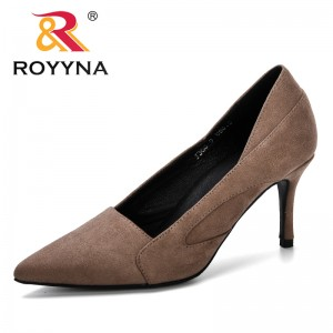 ROYYNA 2019 Spring Autumn Women Shoes Faux Suede Heels Women Pumps Stiletto Women's Work Shoe Pointed Toe Wedding Shoes Ladies