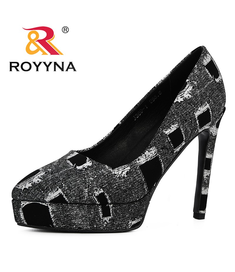 ROYYNA 2019 Women Pumps High Heels Shoes Ladies Platform Point Toe Party Wedding Pump Black Woman Shoes Trendy Chaussures Femme