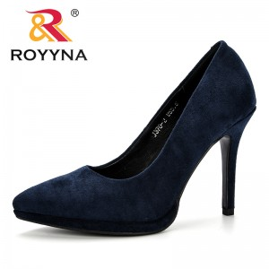 ROYYNA Women Pumps Flock High Heels Feminimo Shoes Pointed Toe Thin Heels New Designer 2019 Valentine Shoes Wedding Dress Shoes