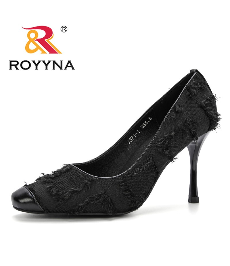 ROYYNA New Classics Style Women Pumps Fashion Patent Cotton Fabric Party Shoes Pointed Toe Shallow Women's High Heels Shoes
