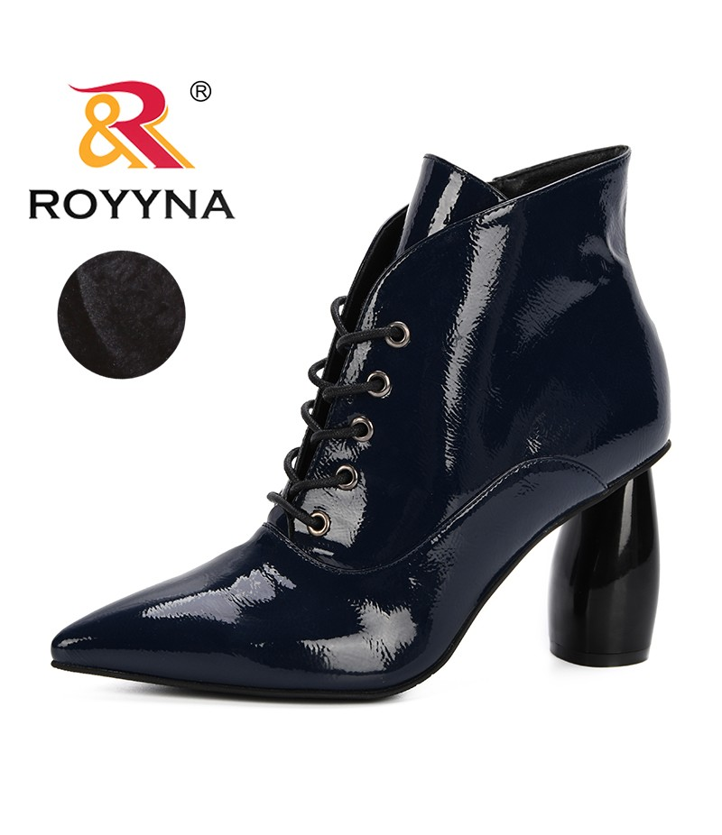 ROYYNA New Fashion Black Autumn Winter Women Boots Synthetic Leather Female Side Zipper Martin Boots Vintage Fashion Ankle Boots