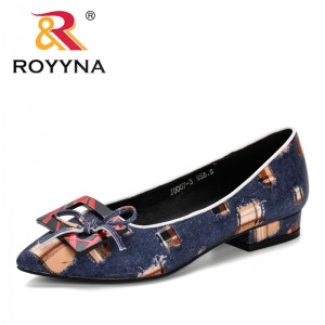 ROYYNA 2019 New Style Women's Pointed Toe Pumps Spring Autumn Shallow Slip On Women Low Heel Pumps Office Lady Casual Shoes