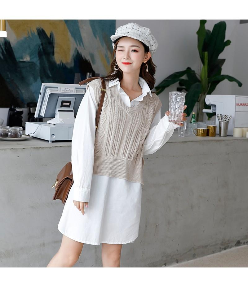 新款韩版针织背心拼接衬衫假两件休闲百搭连衣裙