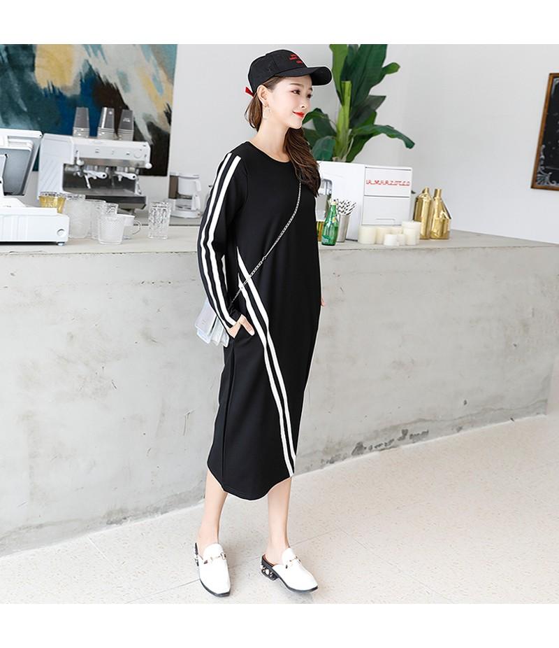 2018新款运动休闲圆领长袖黑色显瘦中长款连衣裙