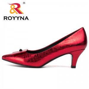 ROYYNA Fashion Style Women Pumps Spike Heels Women Shoes Sweet Pointed Toe Women Casual Shoes Metallic Color Wedding Shoes