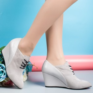 ROYYNA Concise New Style Women Pumps Lace Up Pointed Toe Women Casual Shoes Wedges High Heels Flock Shoes Women Wholesale