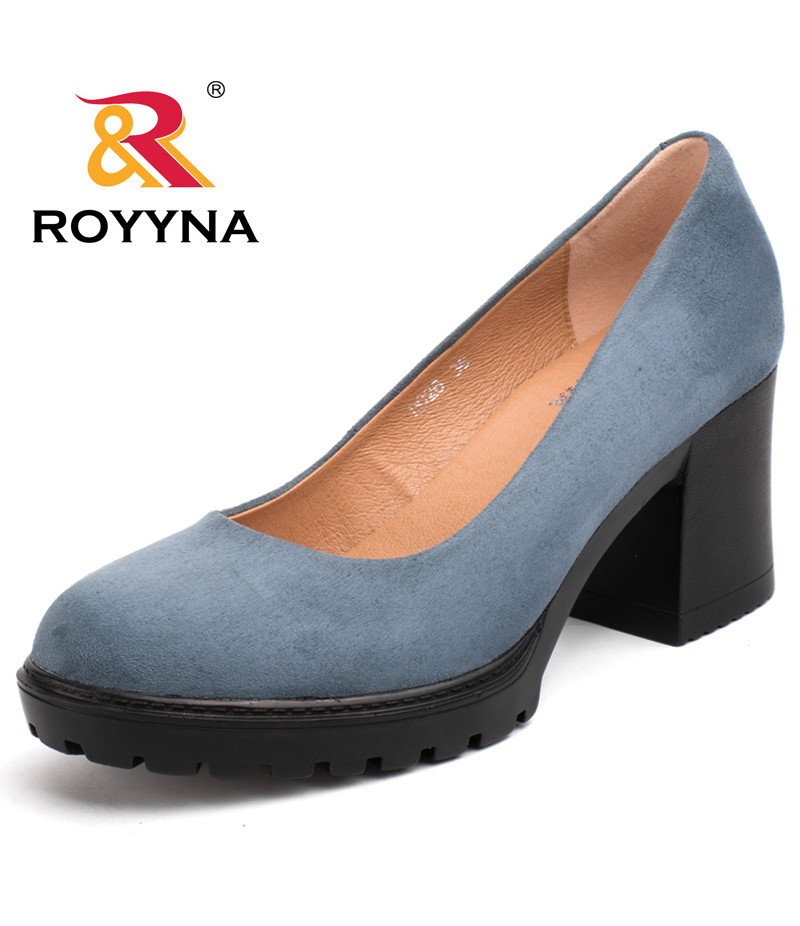 ROYYNA New Fashion Style Women Pumps Shallow Ladies Platform Shoes Round Toe Square Heels Women Wedding Shoes Wholesales