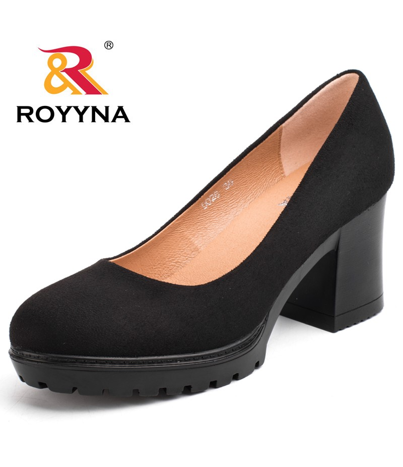 ROYYNA Chinese Shoes manufacture  Women Pumps Shallow Ladies Platform Shoes Round Toe Square Heels Women Wedding Shoes Wholesales