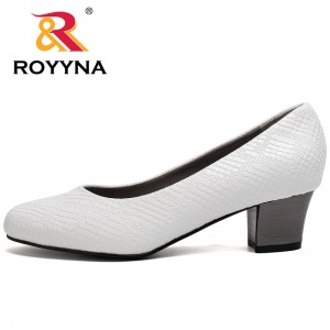 ROYYNA China Shoes  Women Pumps Square Heels Ladies Shoes Serpentine Upper Material Women Shoes Shallow Women Casual Shoes