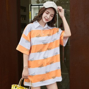ROYYNA T18603 Women Polo Contrast Color Striped Breathable Plus Big Size Casual Design Style Short Polyester Fast Free Shipping