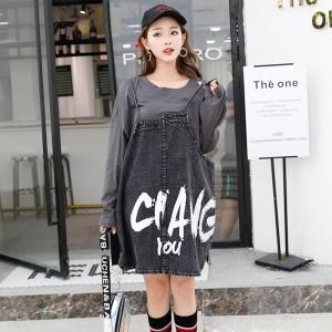 原创实拍欧洲站休闲韩范秋季新款时尚印花牛仔背带裙两件套