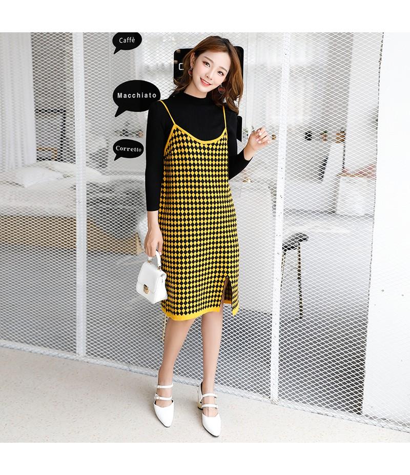 2018新款秋装针织格子吊带长款开叉韩版连衣裙+针织衫两件套套装