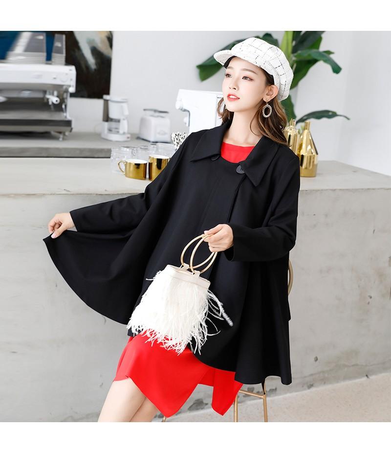 2018春秋斗篷新款时尚韩版宽松显瘦中长款立体裙摆外套