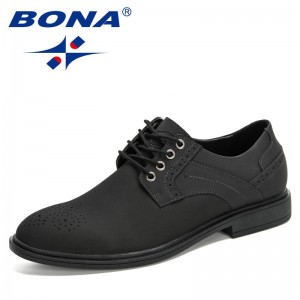 BONA 2020 New Designers Dress Shoes Brogue Lace Up Flats Men Casual Shoes Nubuck Leather Footwear Man Office Loafers Masculino