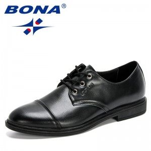 BONA 2020 New Designers Business Single Leather Men Formal Shoes Office Party Wedding Lace Up Dress Shoes Mansculino Footwear
